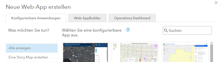 Neue Web App als Operations Dashboard erstellen