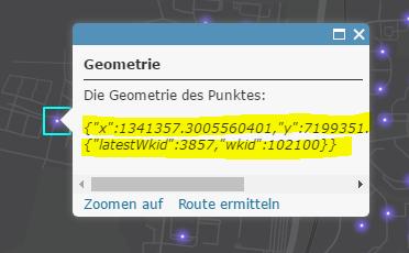 """Ergebnis der """"Geometry"""" – Funktion im Pop-up"""
