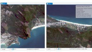 Wechsel vom Kartenraum (links) in den Bildraum (rechts) aus der Sensorpersektive